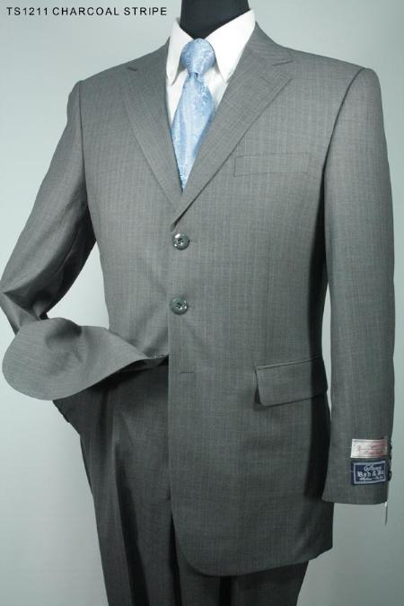 SKU#RG6321 Mens 3 Button Charcoal Stripe Super 130s Super Fine Wool Suit $275