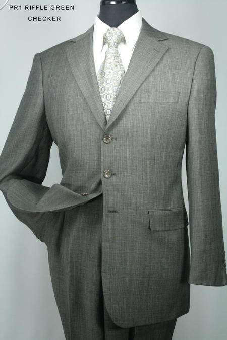 SKU#LF9210 Super 130s Mens 3 Button Riffle Green Checker Wool Suit $275