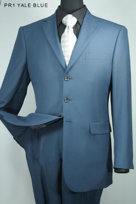 SKU#TA3726 Mens 3 Button Super 130s Yale Blue Solid Wool Suit $275