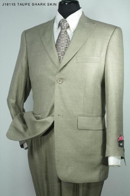 SKU#GQ8126 Mens 2 Button Super 140s 100% Wool Suit Taupe Sharkskin $275