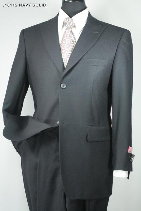 SKU#BT3365 Mens 3 Button Navy Solid Super 140s 100% Wool Suit $275