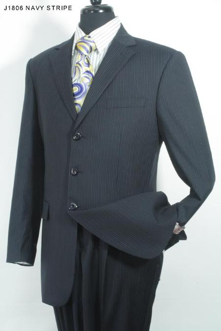 MensUSA Navy Stripe Mens 3 Button Super 140s 100 Wool Suit at Sears.com