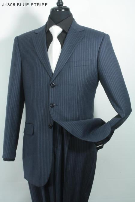 SKU#GK6780 Mens 3 Button Super 140s 100% Wool Suit Blue Stripe $275