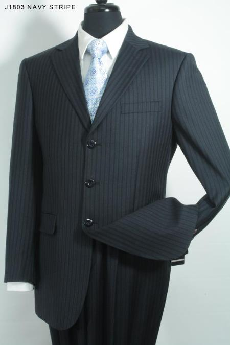 SKU#KS2637 Super 140s 100% Wool Mens 3 Button Suit Navy Stripe $275