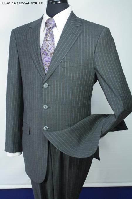 SKU#JW7210 Mens 3 Button Super 140s 100% Wool Suit Charcoal $275