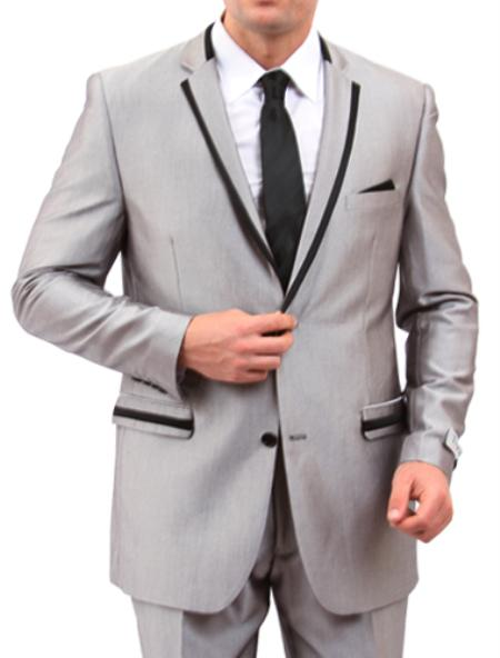 SKU#M141S000 Mens 2 Button Front Closure Slim Fit Suit Grey