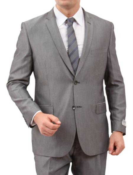 SKU#M142S000 Mens Solid Grey 2 Button Front Closure Suit