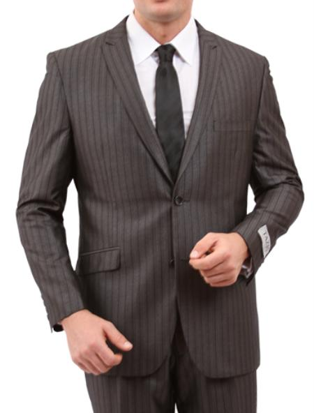 SKU#M145S000 Mens 2 Button Slim Fit Suit Grey