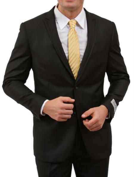 SKU#M147S000 Mens 2 Button Front Closure Black Satin Trim Suit