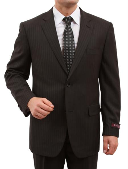SKU#M150000 Mens Solid Black 2 Button Front Closure Suit