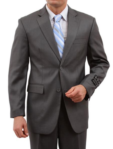 SKU#M151000 Mens 2 Button Front Closure Black Suit