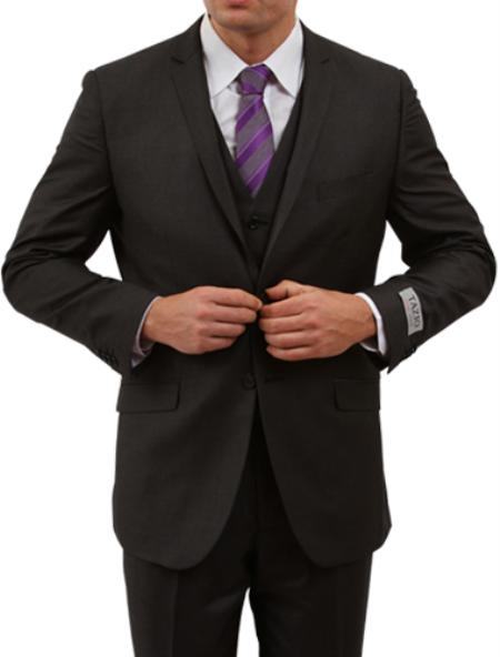 SKU#M154S000 Mens Solid Black 2 Button Front Closure Side Vent Suit