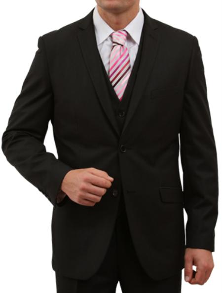 SKU#M155S000 Mens Solid Black 2 Button Front Closure Suit