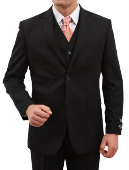 SKU#M156000 Mens Solid Black 2 Button Front Closure suit