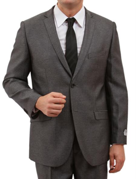 SKU#M157S000 Solid Herringbone Tweed Mens 2 Button Front Closure Suit