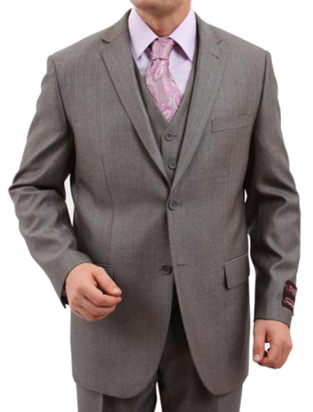 SKU#M158000 Mens Solid Textured 2 Button Front Closure Suit $139