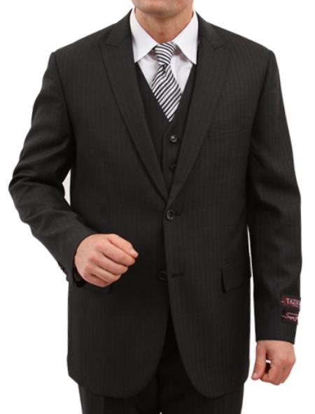 SKU#M159000 Mens Solid Black 2 Button Front Closure Discounted Sale Fit Suit