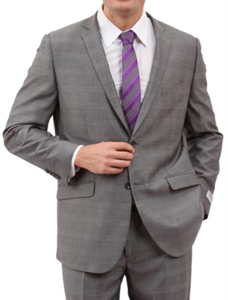 SKU#M160S000 Mens Light Grey 2 Button Front Closure Suit