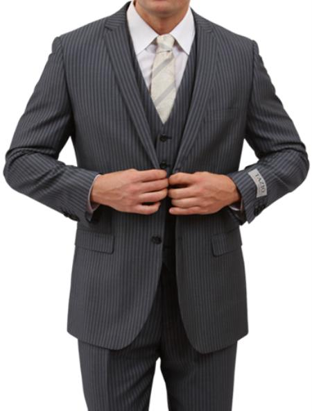 SKU#M161S000 Mens 2 Button Front Closure Grey Pinstripe Slim Fit Suit $139