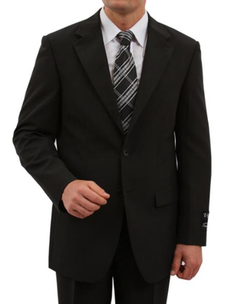 SKU#M162000 Mens 2 Button Front Closure Tailored Fit Suit Black $139