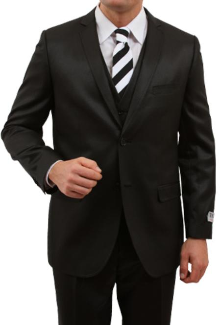 SKU#M163S000 Mens Solid Black 2 Button Front Closure Slim Fit Suit