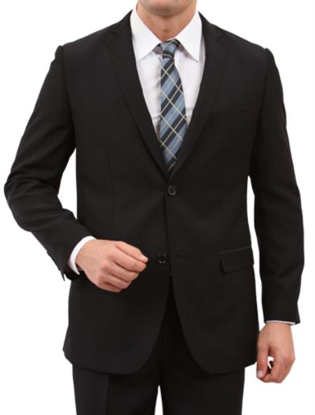SKU#M165S000 Mens 2 Button Front Closure Slim Fit Suit Black $139