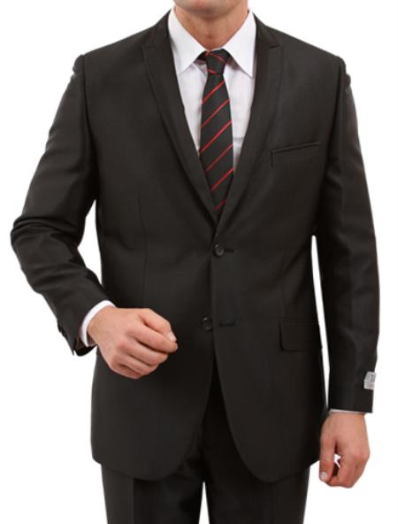 SKU#M168S000 Mens 2 Button Front Closure Peak Lapel Satin Trim Pic Stitch Suit Black $139