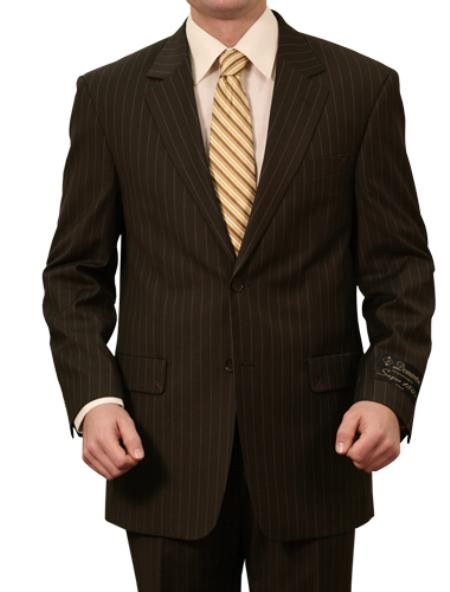 SKU#M060000 Mens 3 Button Front Closure Solid Black Pinstripe Suit