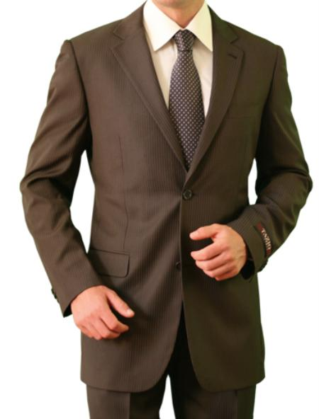 SKU#M084000 Mens 2 Button Front Closure Slim Notch Lapel Brown Suit