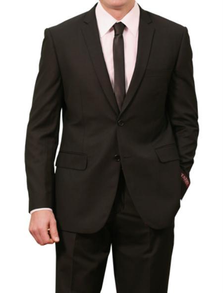 SKU#M085S000 Mens 2 Button Front Closure Slim Fit Suit Black