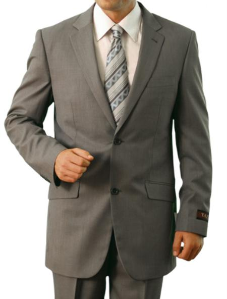 SKU#M110000 Mens Light Grey 2 Button Front Closure Slim Notch Lapel Suit