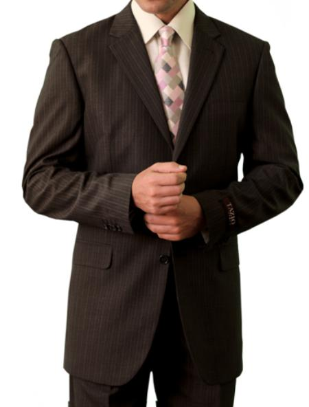 SKU#M114000 Mens 3 Button Front Closure Brown Suit