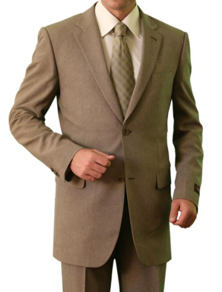 SKU#M116000 Mens 2 Button Front Closure Notch Lapel Suit Tan $139