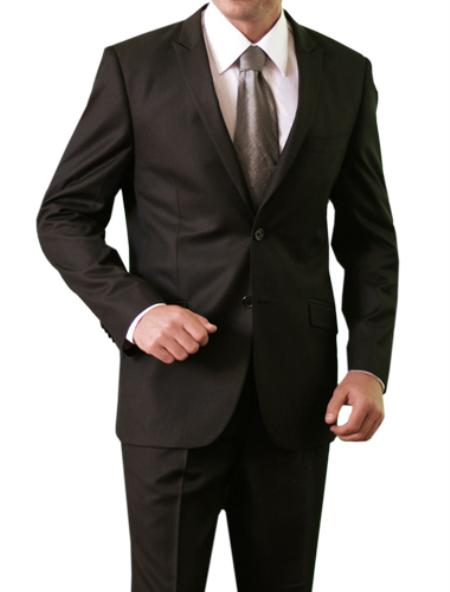 SKU#M118S000 Mens Shiny Shark Skin Solid 2 Button Front Closure Slim Fit Suit