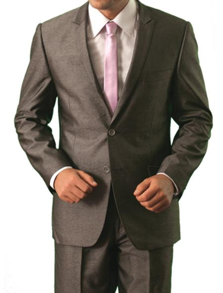 SKU#M126000 Mens Shiny Shark Skin Solid 2 Button Front Closure Suit $139