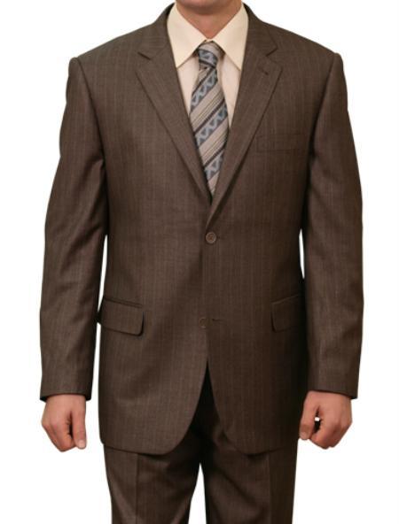 SKU#M131000 Mens Black Stripe ~ Pinstripe 2 Button Front Closure Suit