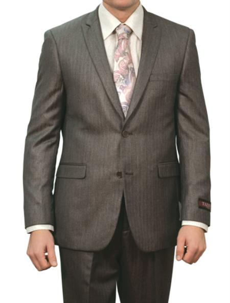 SKU#M133S000 Mens Carbon Grey Shiny Pin Stripe 2 Button Front Closure Suit $139