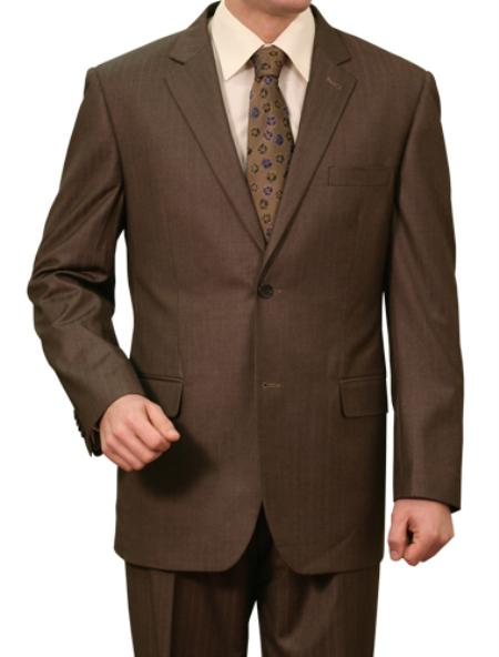 SKU#M134000 Mens Brown Pin Stripe ~ Pinstripe 2 Button Front Closure Notch Lapel Suit
