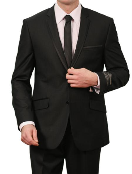 SKU#M140S000 Mens 2 Button Front Closure Slim Fit Suit Black Satin $139