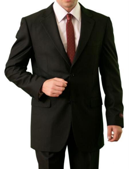 SKU#M085000 Mens 2 Button Front Closure Notch Lapel Suit Solid Black
