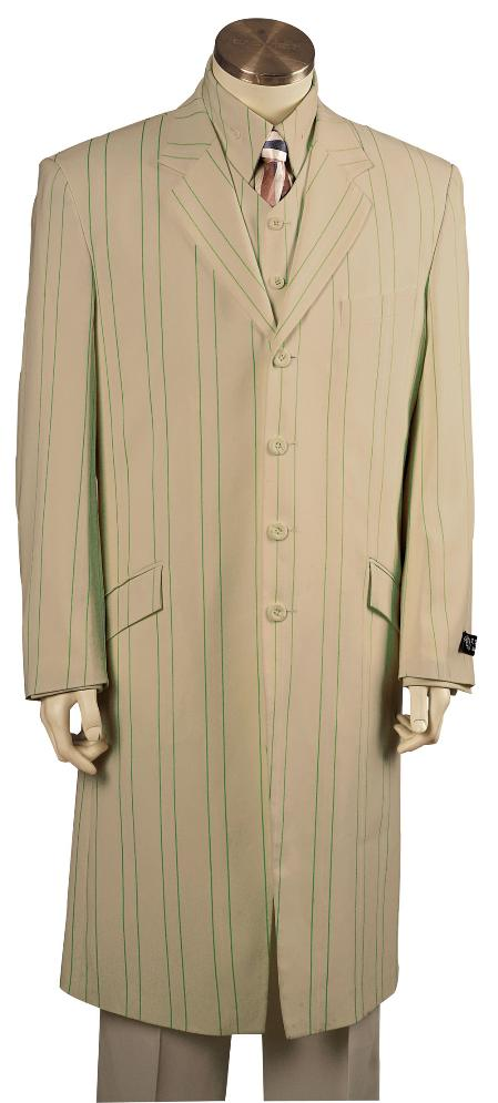 SKU#YU8165 Mens Fashionable 4 Button Long Zoot Suit $225