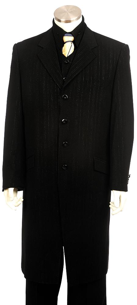SKU#HA8365 Mens High Quality Fashionable Zoot Suit Black $225