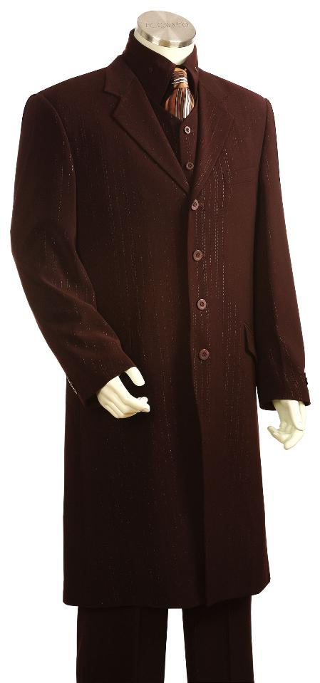 SKU#KT2100 Men's Fashionable Long Zoot Suit Brown