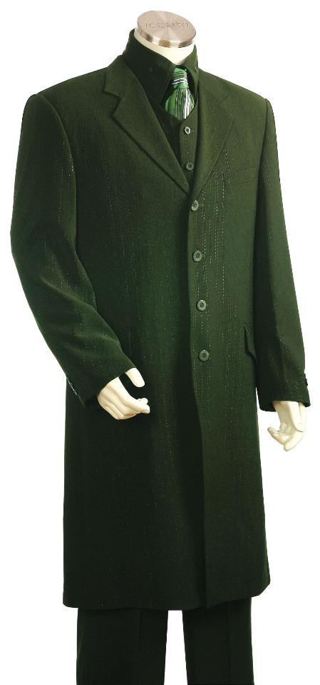 SKU#MK6614 Mens 4 Button 3 Piece Long Zoot Suit Olive $225