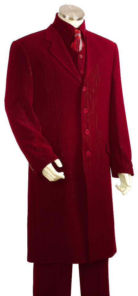 SKU#HS7123 Mens Red 3 Piece Fashion Zoot Suit + Shirt + Tie + Vest Package