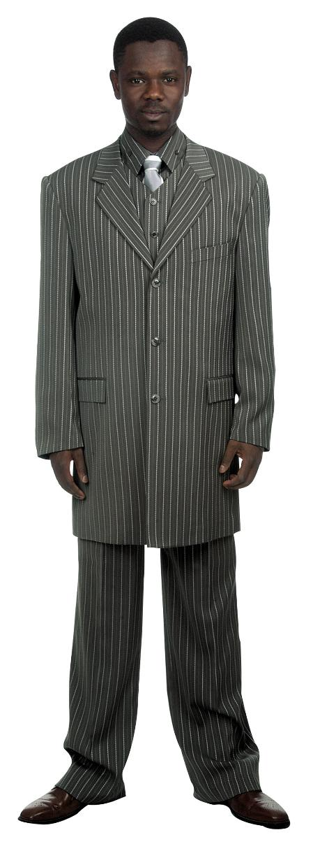 1940s Mens Suits | Gangster, Mobster, Zoot Suits 3 Button Grey Pinstripe and Bold Pronounce Suit and Vest Mens $149.00 AT vintagedancer.com