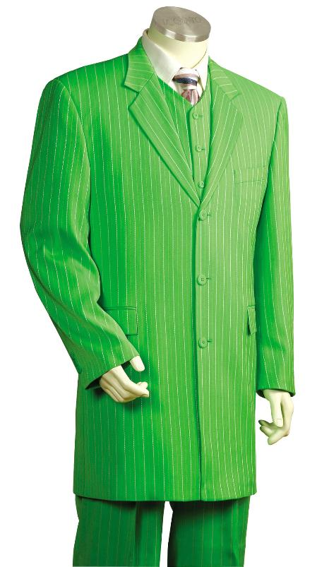 ILCO_8180 Mens 3 Piece Long Zoot Suit With Vest Lime Green $175