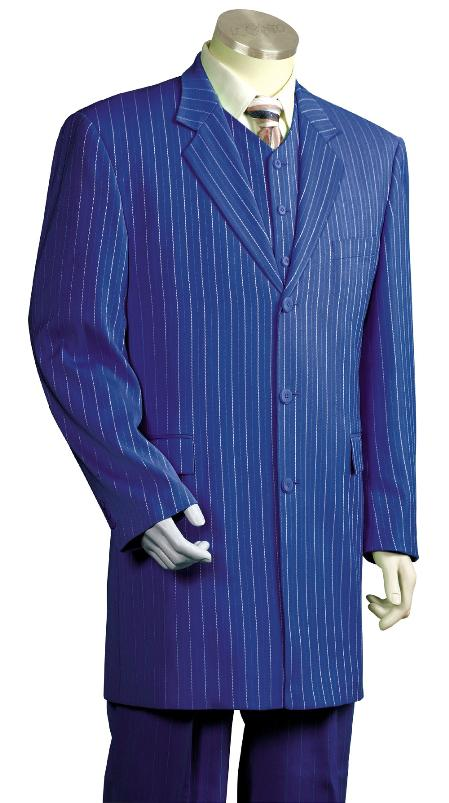 ILCO_8180 Mens 3 Piece Fashionable Zoot Zuit Royal Blue $175