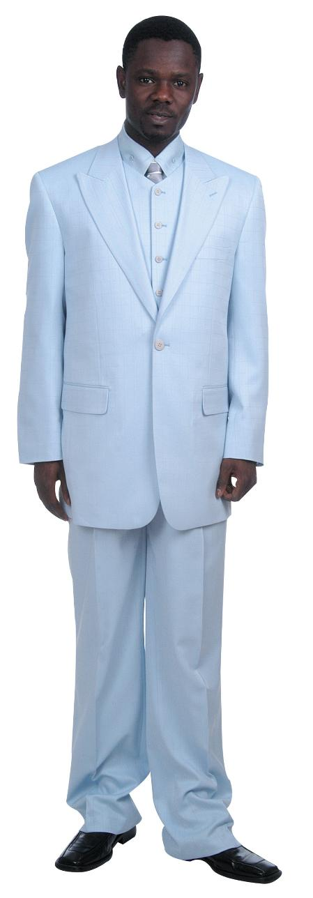 SKU#LQ5218 Mens Fashionable 1 Button Zoot Suit With Vest Light Blue ~ Sky Blue $175