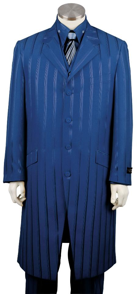 SKU#RG4270 Mens 4 Button Fashionable 3 Piece Long Zoot Suit Royal Blue Tone on Tone Shadow Stripe